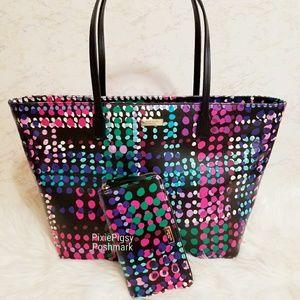 Kate Spade Polka Dot Margareta Tote Bag Wallet Set